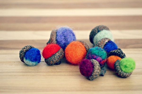 Wet felting Acorns