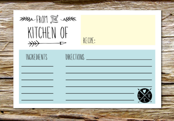 Attractive This Free Recipe Cards Printable Is A Neat Idea For A Bridal Shower.  Everyone Brings Their Favorite Recipe And Fills Out The Recipe Cards.