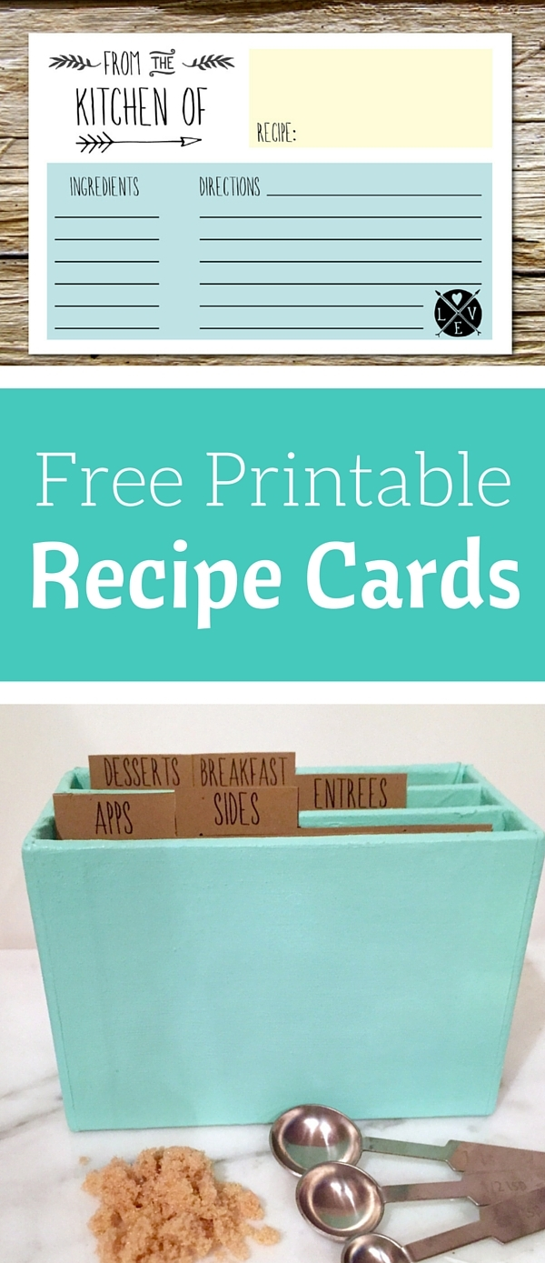 Free Printable recipe cards and recipe tab dividers