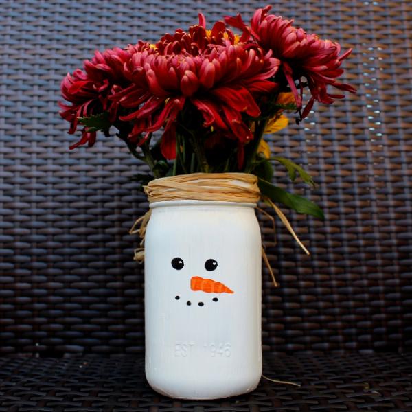 Snowman Mason Jar Vase Weekend Craft