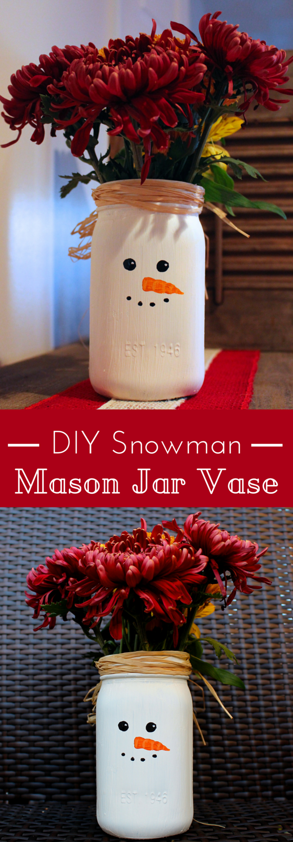 Simple DIY Snowman Mason Jar Vase