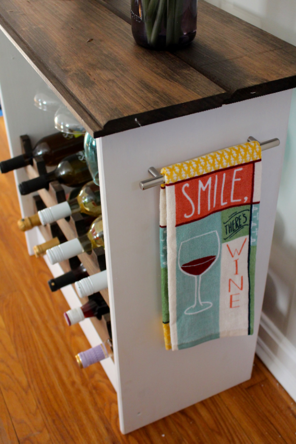 ikea hack wine rack with towel bar