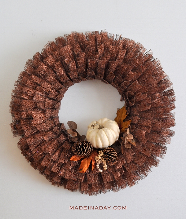 Fall Metallic Ribbon Wreath