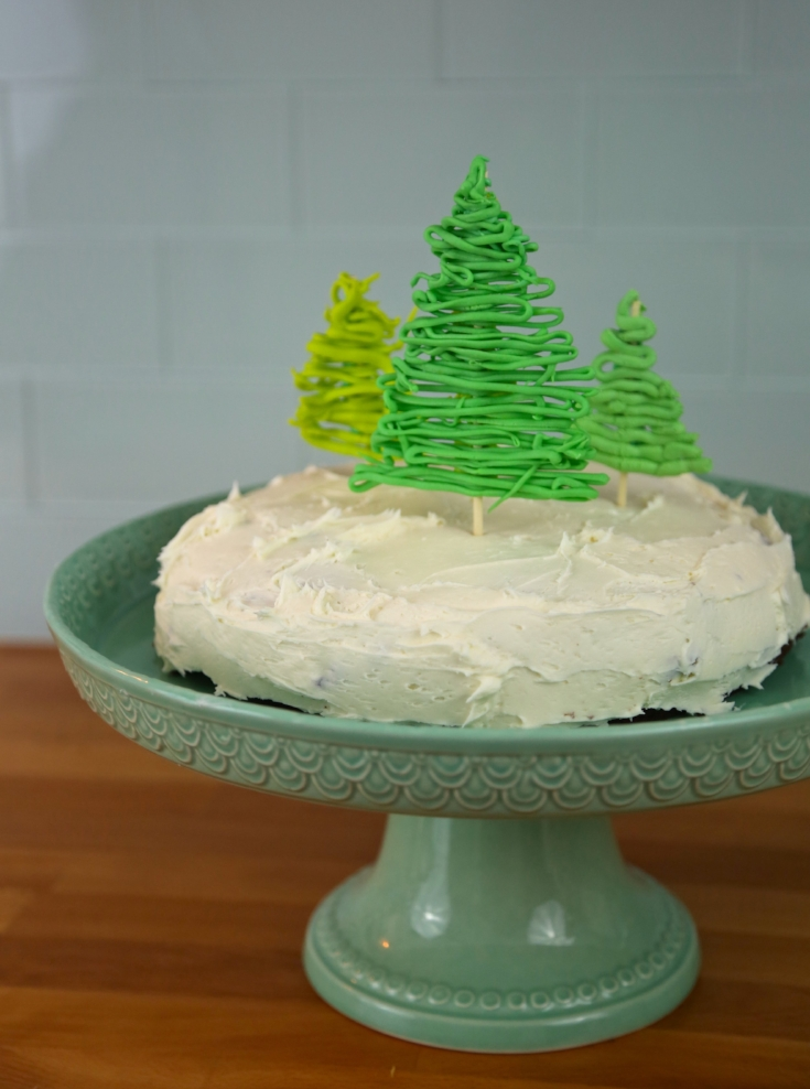 two ingredient cake and white chocolate christmas trees