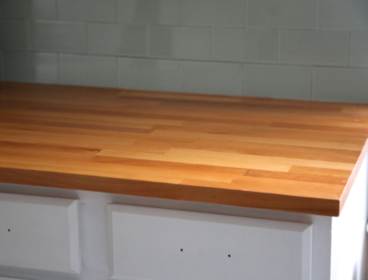 How to finish ikea butcher block countertops weekend craft for Installing butcher block countertops
