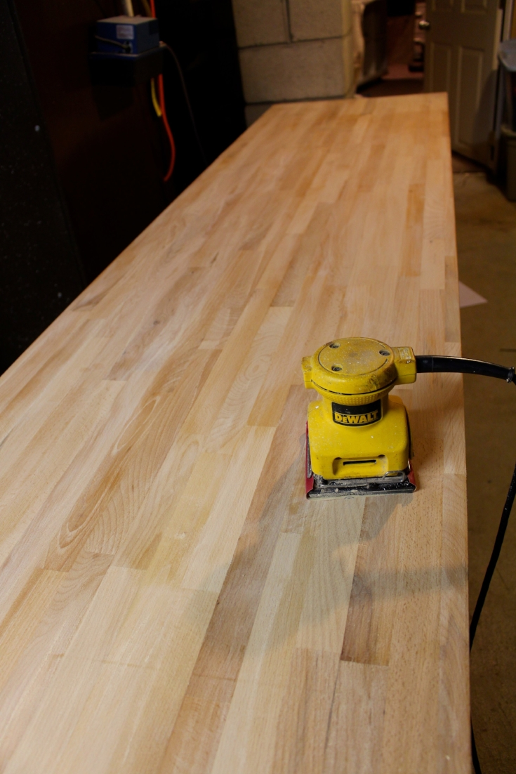 sanding butcher block