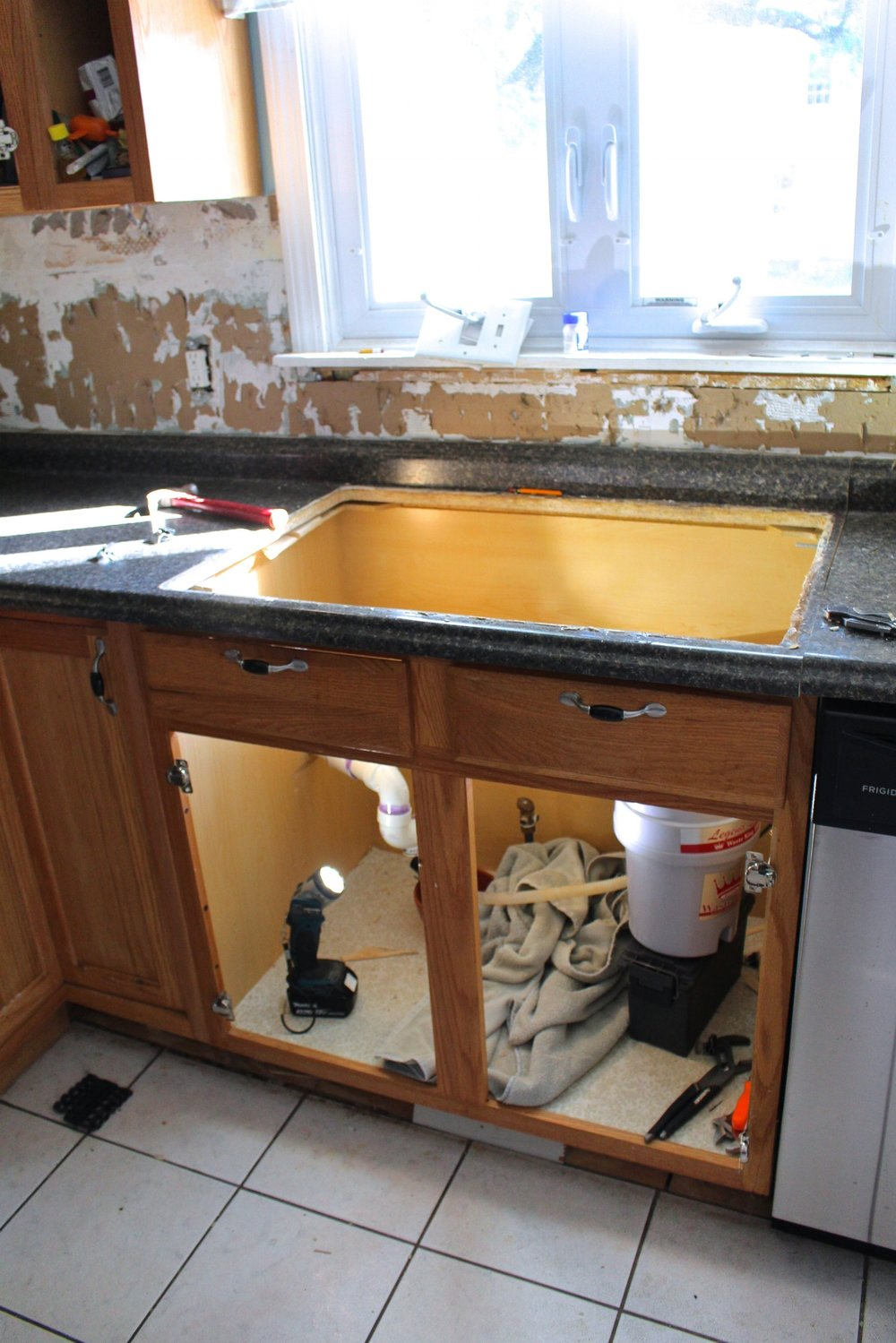 old sink removed
