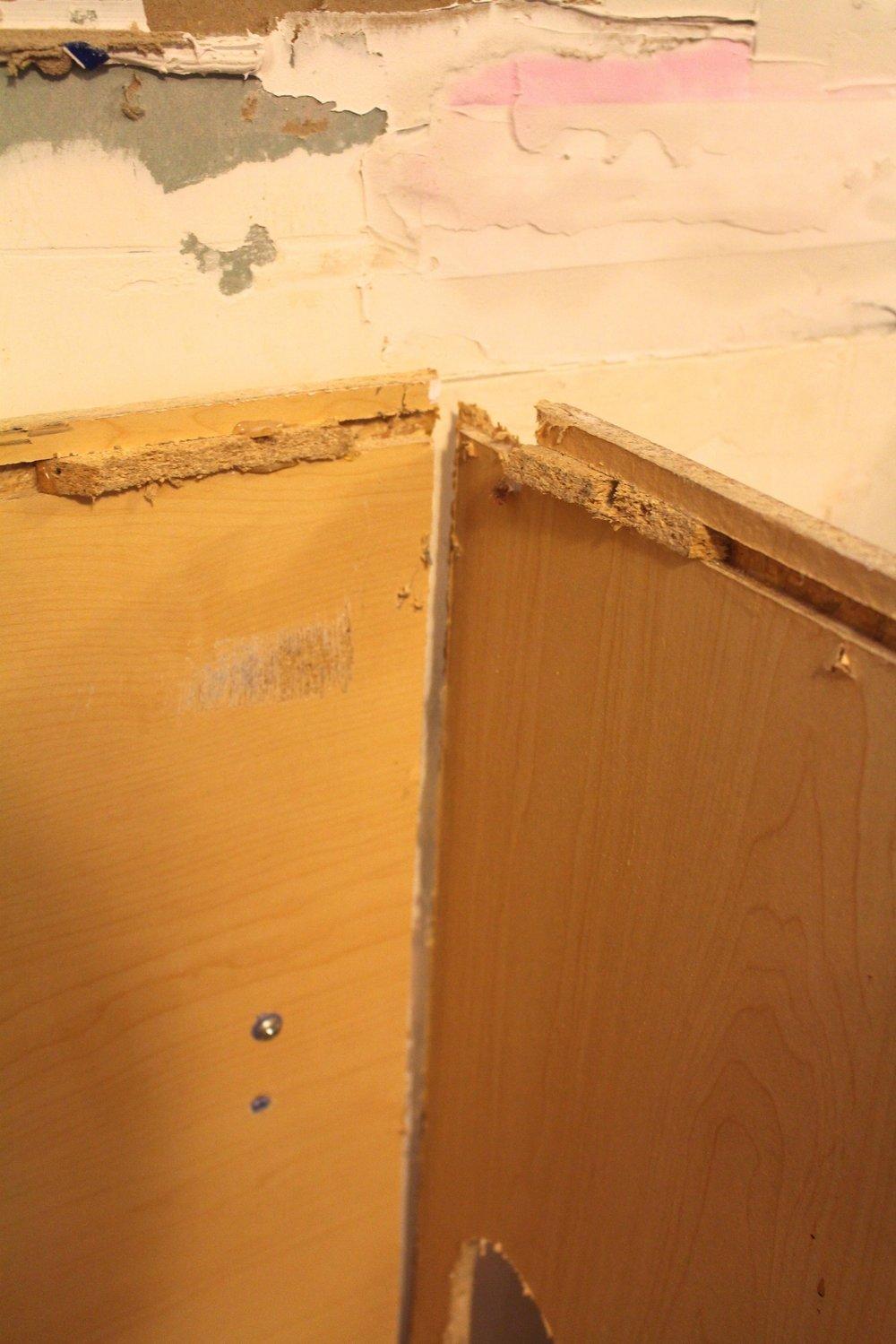 damaged cabinet