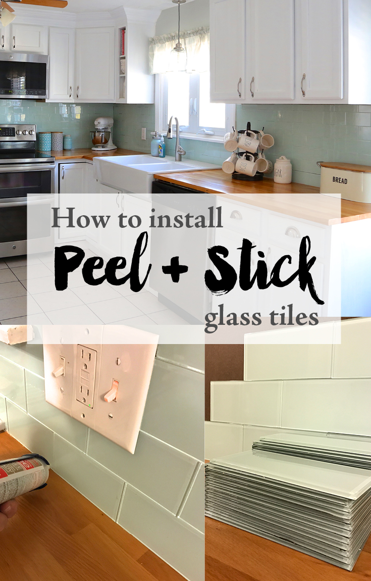 Installing peel and stick glass tiles weekend craft want to read about more peel and stick tile projects sharing 11 of my favorite projects including using peel and stick tile in your bathroom kitchen dailygadgetfo Gallery