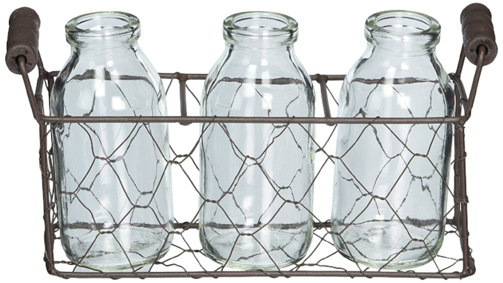 Milk Bottles and metal caddy