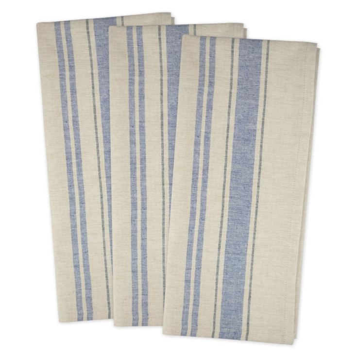 Farmhouse French Country Blue Striped Dish Towels