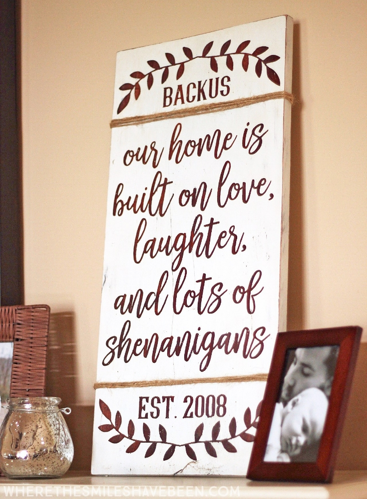 Personalized Love and Shenanigans sign