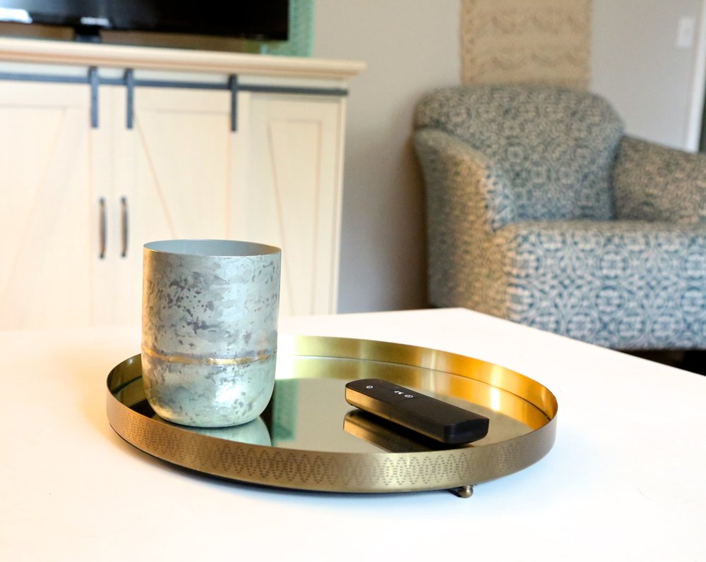 Hearth and Hand Galvanized container candle and Rounded Mirrored brass tray