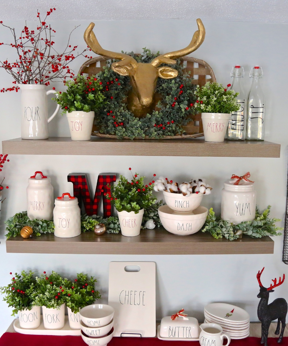 Rae Dunn Christmas Floating shelves