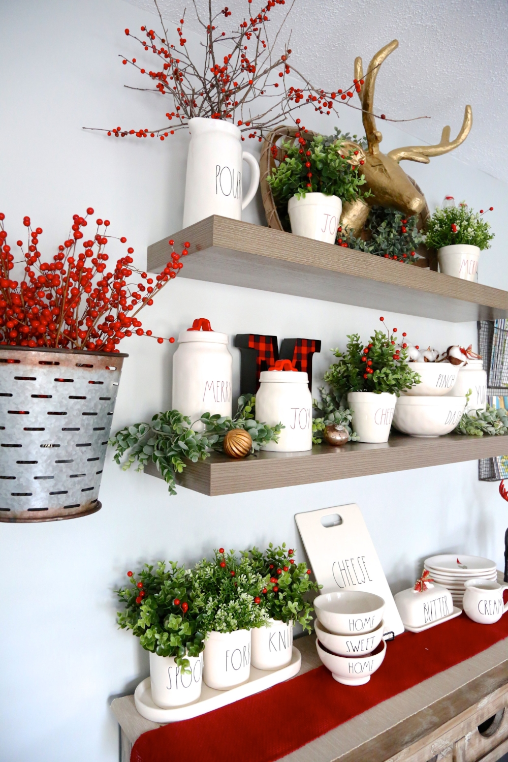 rae dunn christmas styled shelves