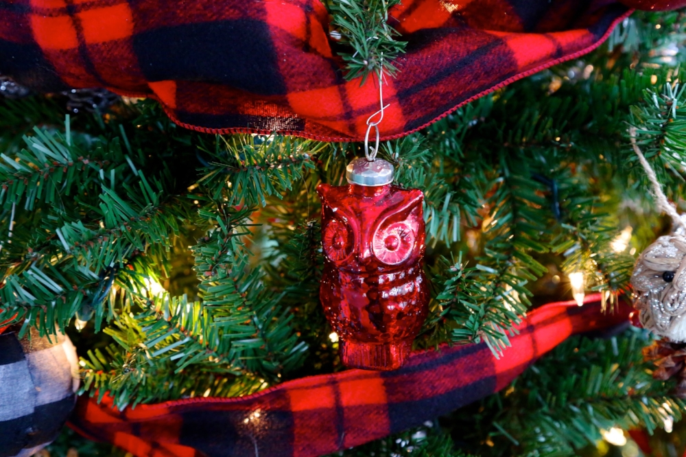 Red Mercury glass owl ornament