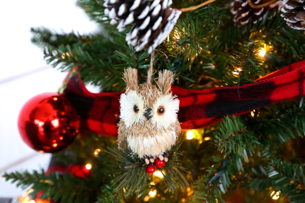 brush owl ornament
