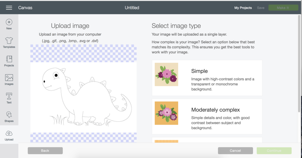 upload an image cricut design space