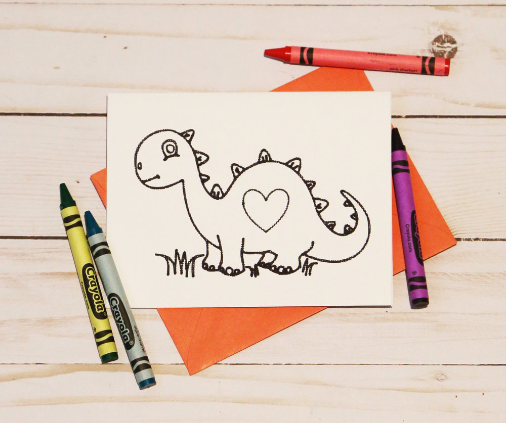 Dinosaur Coloring Card for Valentines day