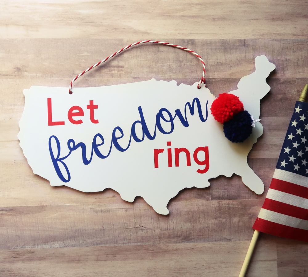 Let Freedom Ring Patriotic Wooden Door Hanger