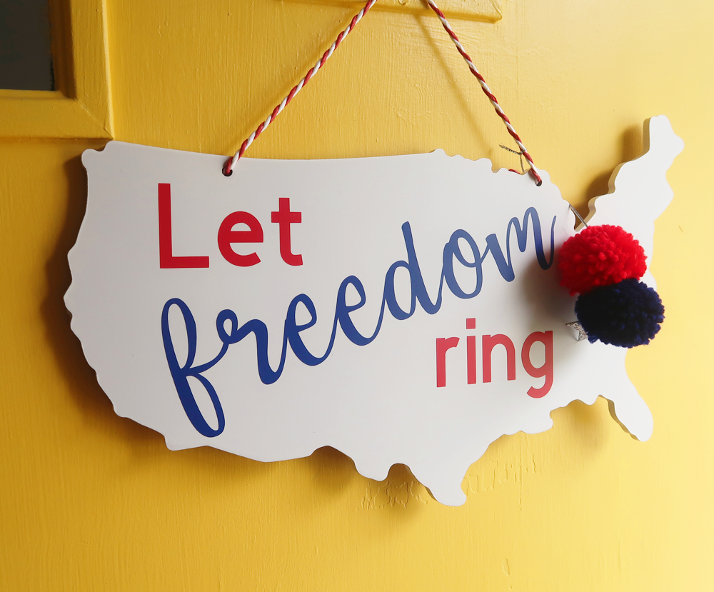 Let Freedom Ring USA Patriotic Wooden Door Hanger
