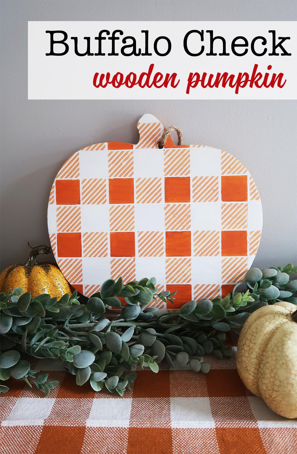 Buffalo Check Wooden Pumpkin