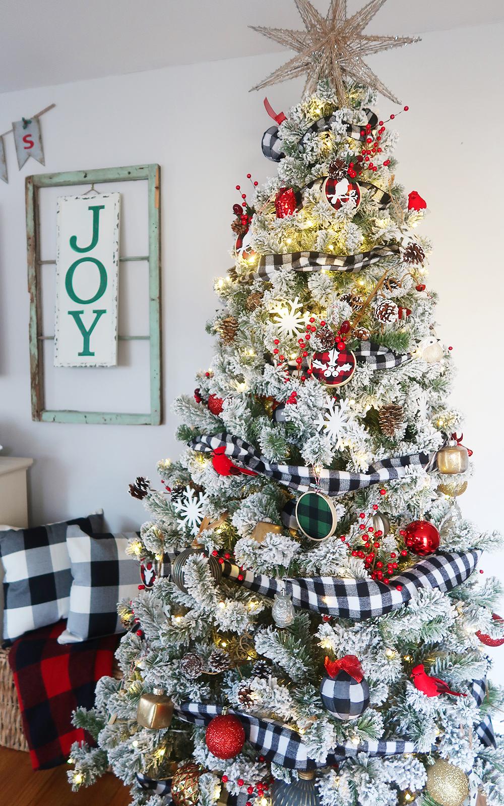 Flocked Buffalo Check Christmas Tree