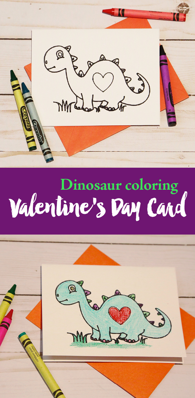 Dinosaur coloring card