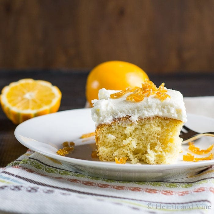 meyer lemon cake slice