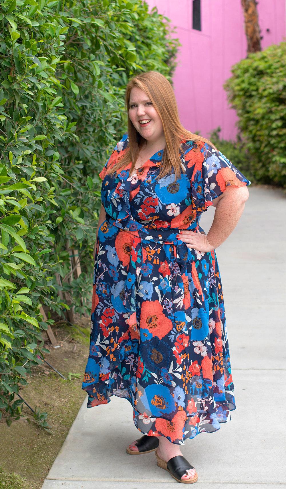 Floral Spring Midi Dress Plus Size
