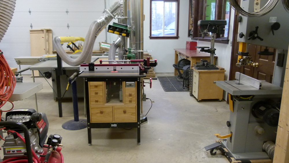 Router table, drill press and bandsaw.