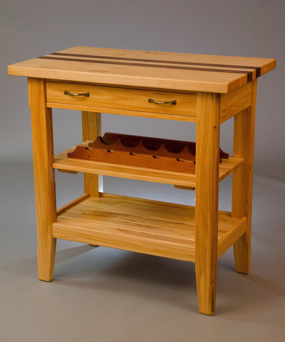 Tables stands and shelves dj graham woodworks item elm kitchen preparation table with mahogany wine rack storage rack and dovetailed drawers geotapseo Image collections