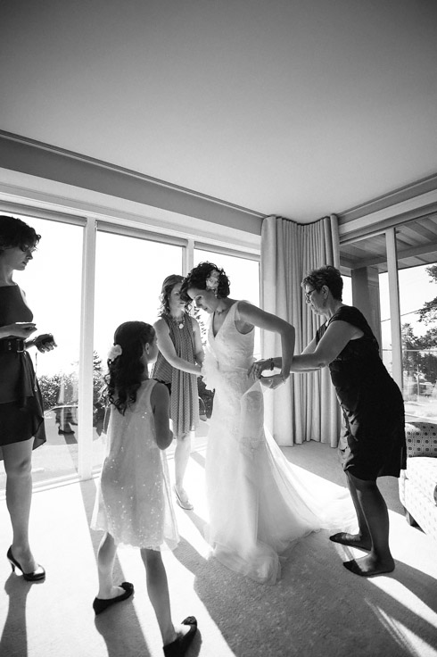 Vancouver Wedding Photographer - Bride Getting into Her Dress