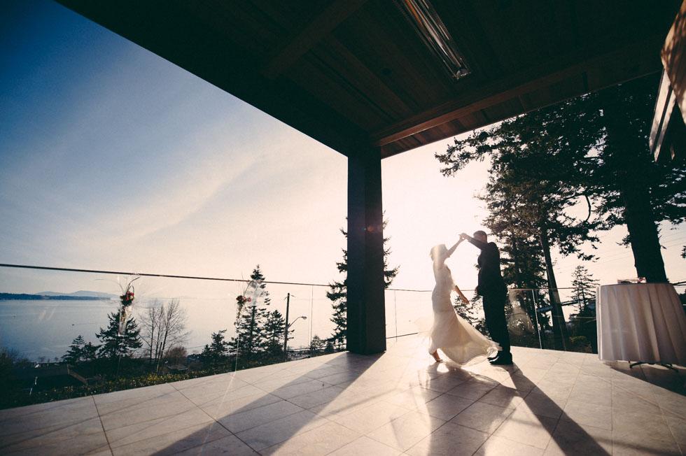 Bride and Groom Practice Dance