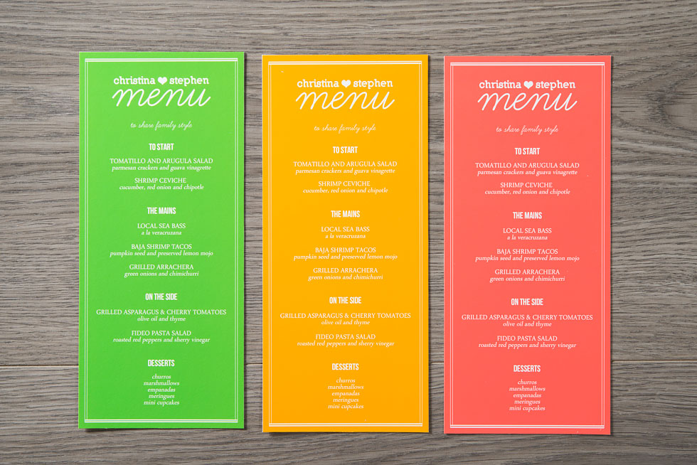 mexican diy destination wedding - menus