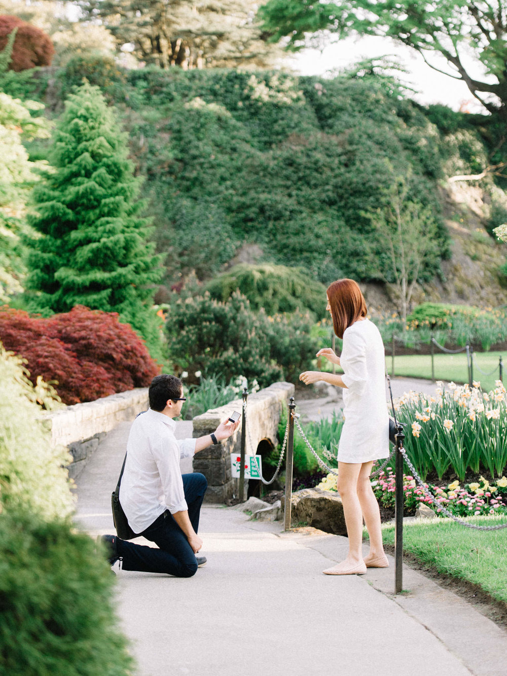 Surprise proposal at Queen Elizabeth Park in Vancouver