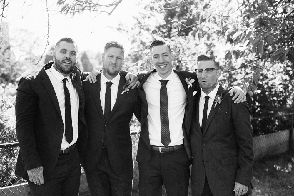Groom and groomsmen - black & white
