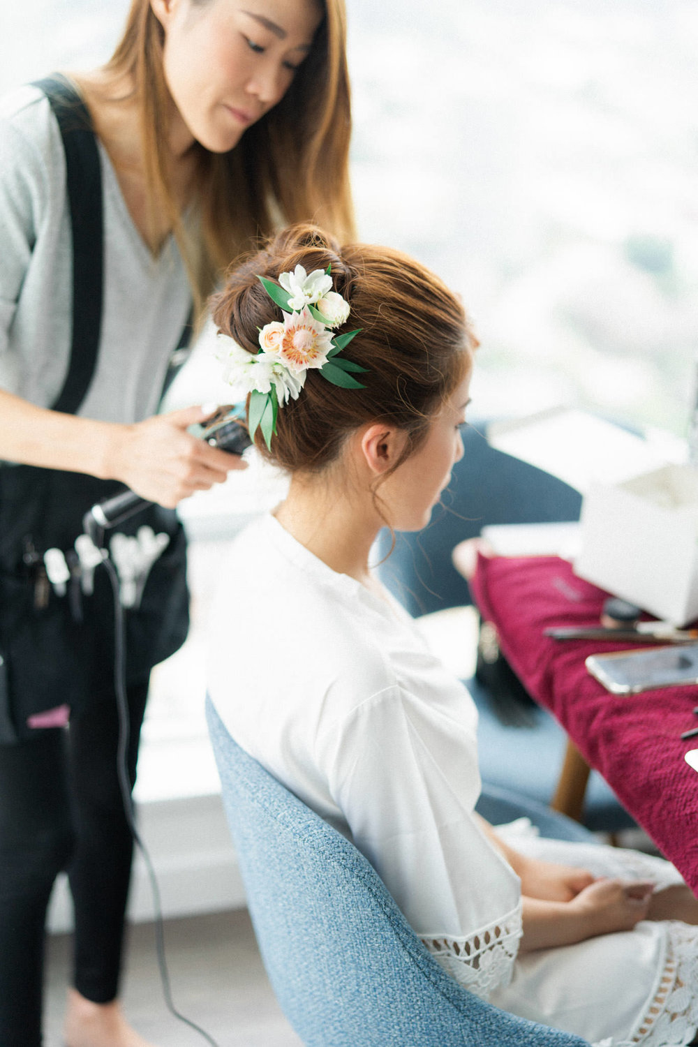 Bride getting ready for her Hart House wedding