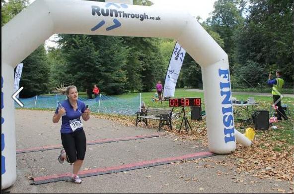 Sophie finishing the 10k run in Hyde Park.