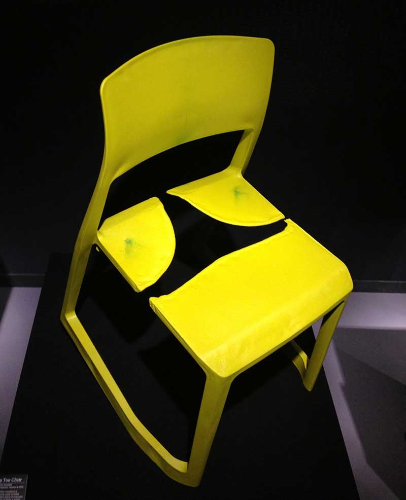 Most intriguing was the gas-injection-moulded chair, which was interrupted before the liquid plastic had fully formed the chair.