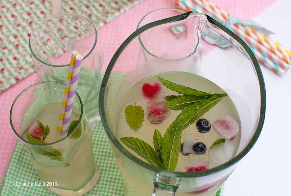 Old fashioned lemonade with frozen berry icecubes by The Chipping Norton Tea Set
