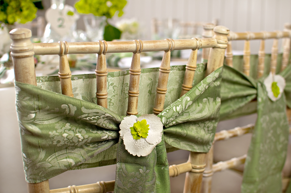 Chair sashes with fresh flowers