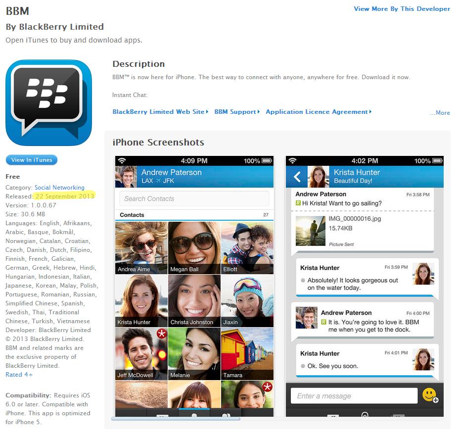 BBM for IOS page on Apple's iTunes Store