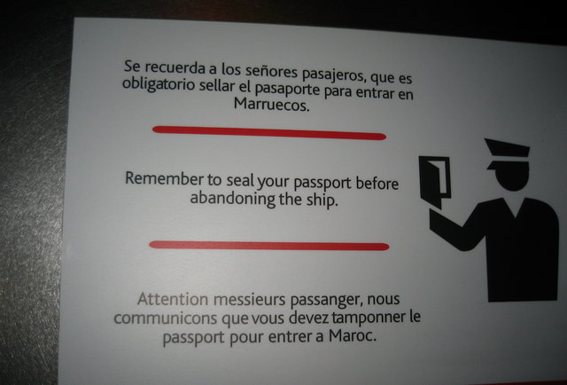 "Flickr  Matt . They meant to say ""You have to stamp your passport before entering Morocco"" but this is much funnier"