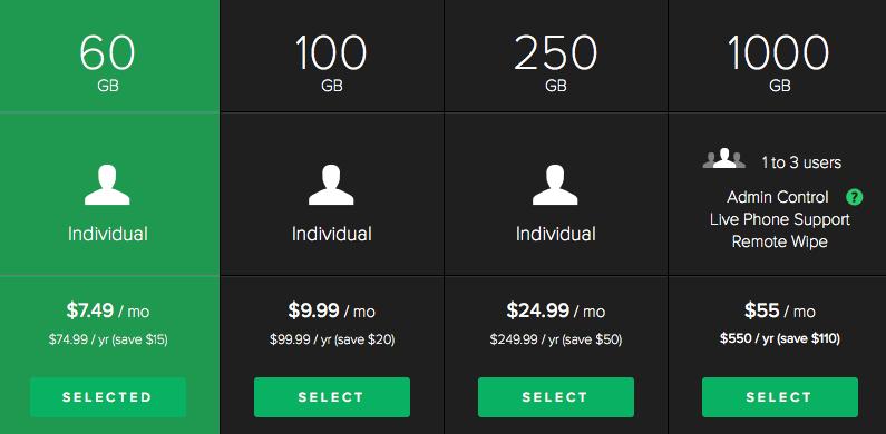 New SugarSync pricing tiers