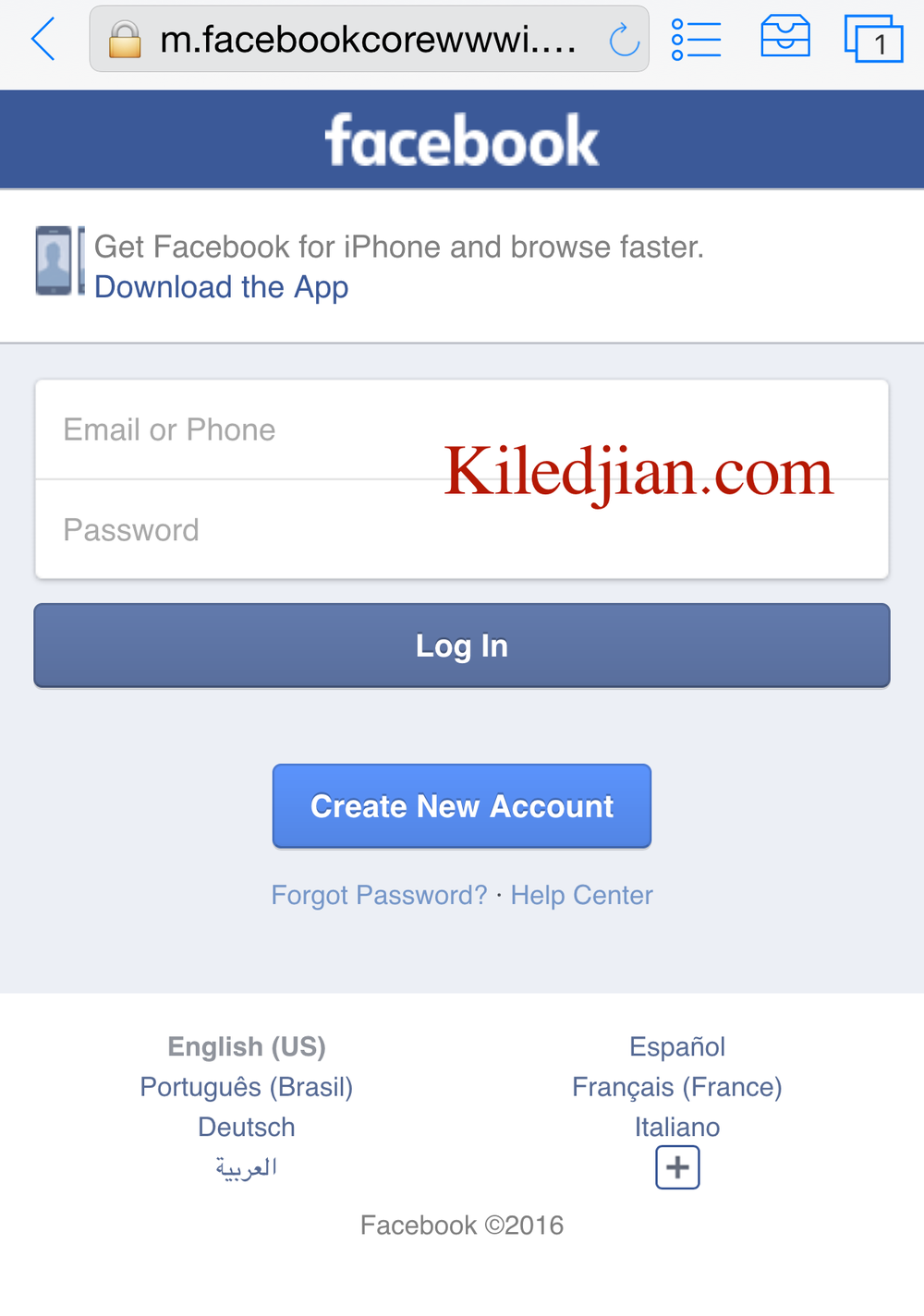 Facebook TOR mobile login webpage