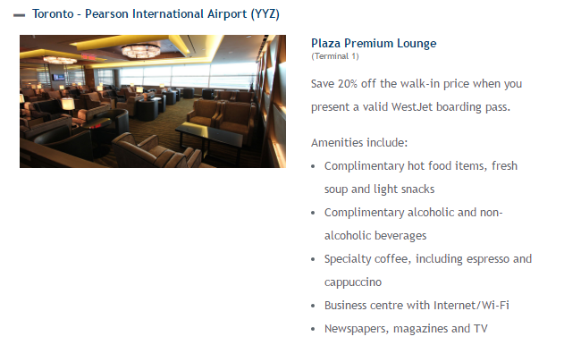 3 hour access to the Plaza Premium lounge costs $40 - 20% (Westjet discount) = $32.