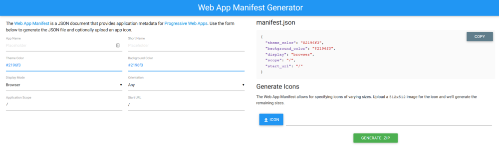 Google Firebase Web App Manifest Generator