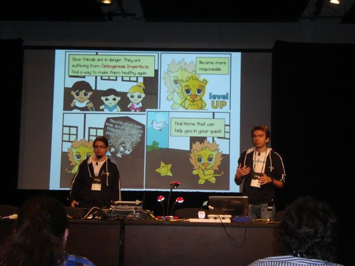 Me and Victor presenting our game