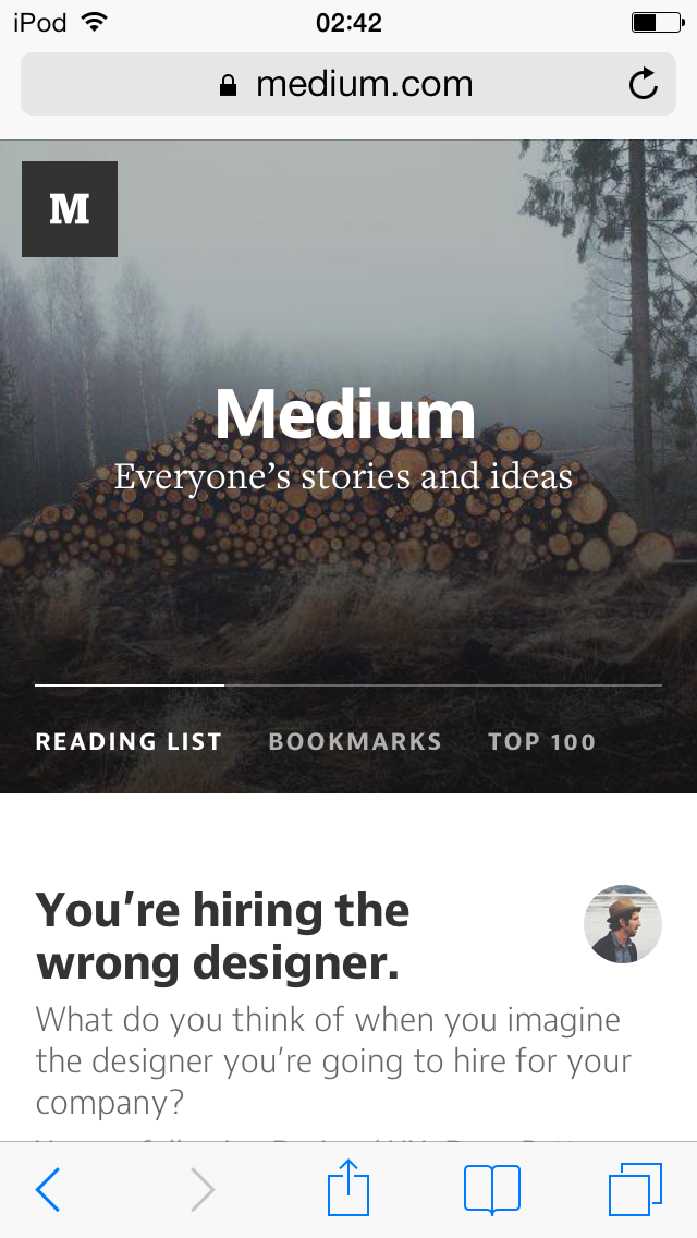 Medium is responsive on mobile devices.